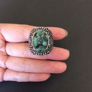 Vintage 925 string silver turquoise ring